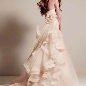 WHITE BY VERA WANG TRICOLORED DRAPED WEDDING DRESS